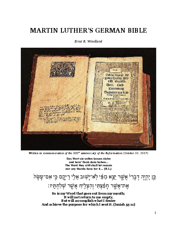 martin luther german bible value