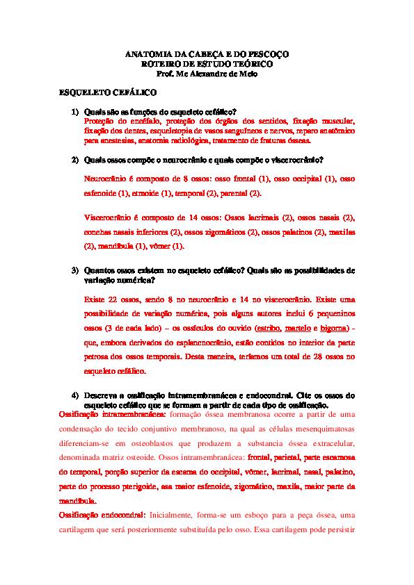 Pdf Anatomia Da Cabeça E Do Pescoço Roteiro De Estudo