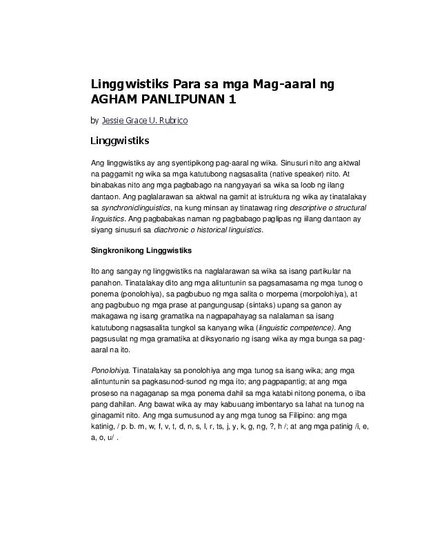 DOC) Linggwistiks Para sa mga Mag-aaral ng AGHAM PANLIPUNAN