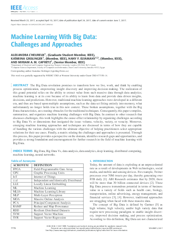 PDF) Machine Learning With Big Data: Challenges and Approaches