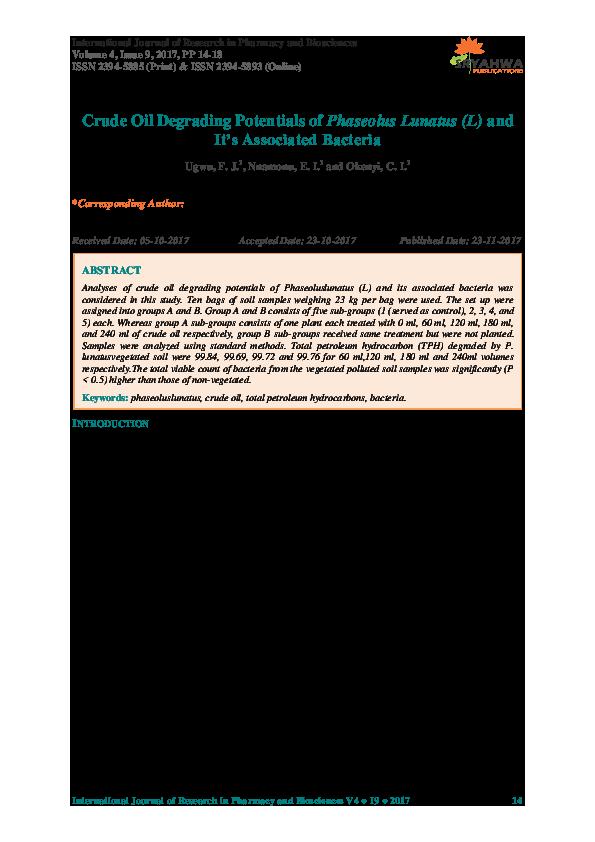 PDF) Crude Oil Degrading Potentials of Phaseolus Lunatus (L