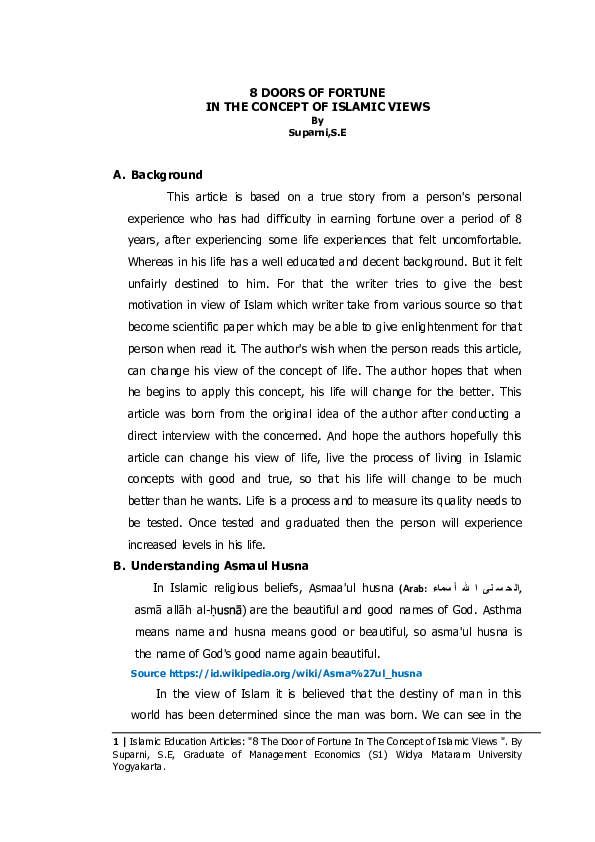 PDF) 8 Doors Of Fortune In The Concept Of Islamic Views