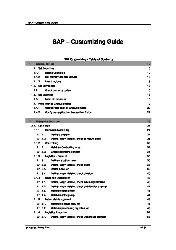 PDF) SAP – Customizing Guide SAP – Customizing Guide   viraj
