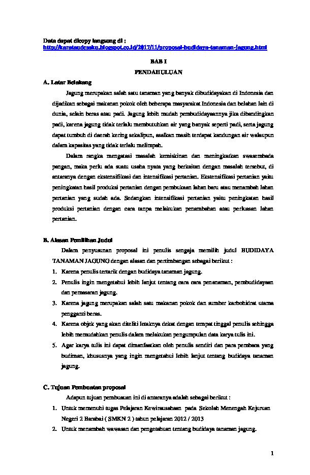 Doc Proposal Budidaya Tanaman Jagung Alya Raisa Nadya Barabai Academia Edu