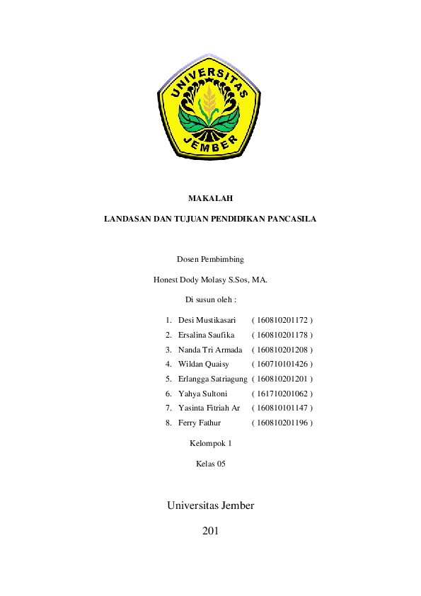 Doc Makalah Landasan Dan Tujuan Pendidikan Pancasila Kelompok 1 Rk 05 Tri Sidas Academia Edu