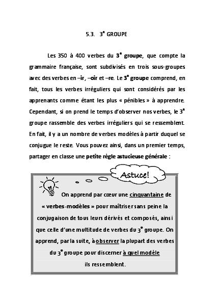 Pdf Astuces Sur Le 3e Groupe Vbs Irreguliers Extrait D Astuces De Grammaire Francaise Ch Boviatsou Pdf Christine Boviatsou Academia Edu