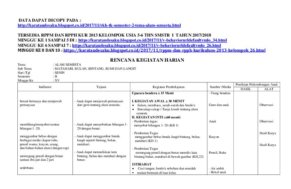 Rkh Tk Semester 2 Tema Alam Semesta Alya Raisa Nadya Barabai