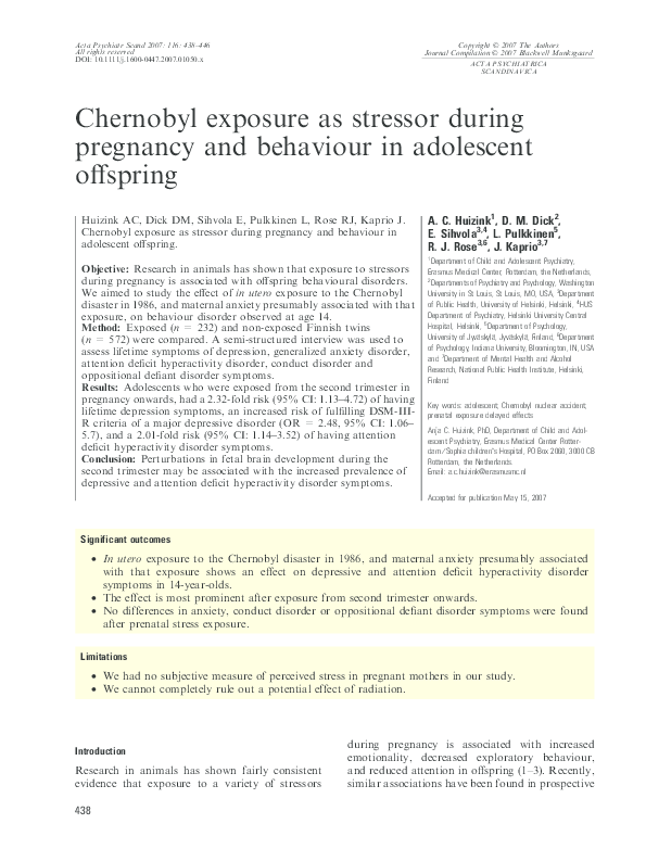 PDF) Chernobyl exposure as stressor during pregnancy and behaviour