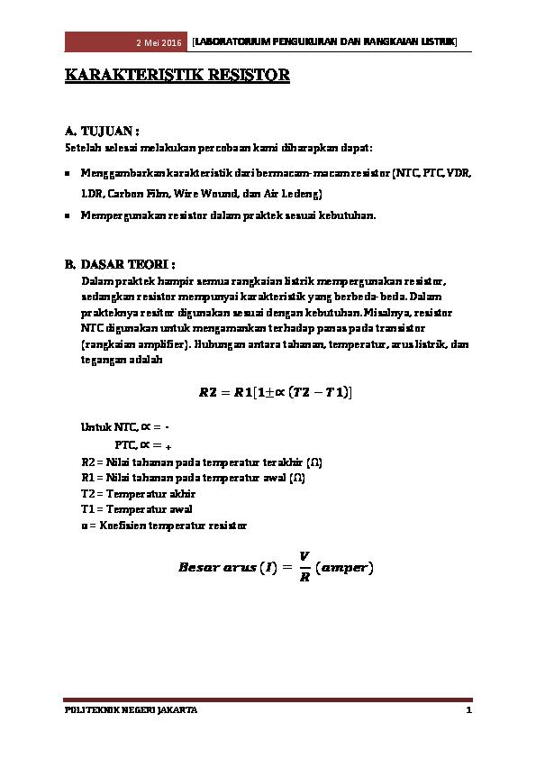 Karakteristik Resistor Ahmad Fauzi Academiaedu