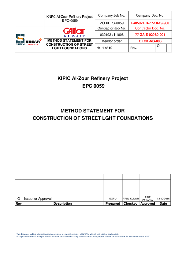 DOC) KIPIC Al-Zour Refinery Project EPC 0059 METHOD STATEMENT FOR