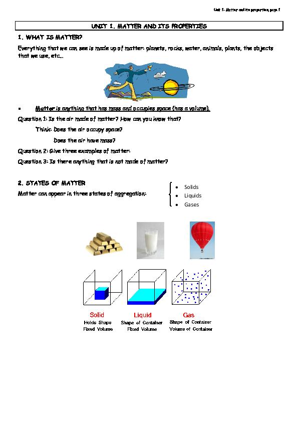 PDF) Unit 1-Matter and its properties, page 1 UNIT 1  MATTER