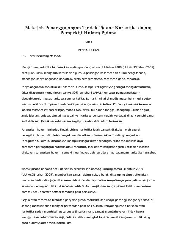 Doc Makalah Penanggulangan Tindak Pidana Narkotika Dalam Perspektif Hukum Pidana Gakuto Jr Academia Edu