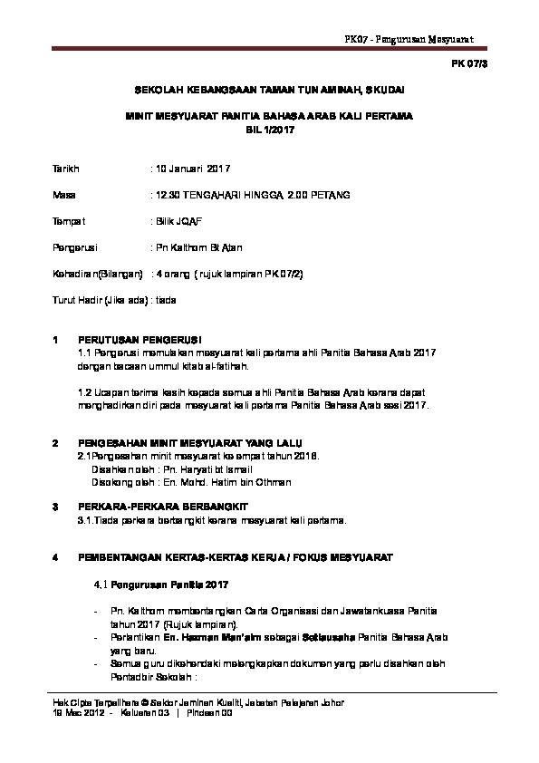Doc Contoh Minit Mesyuarat Maiziah Hilmi Academia Edu