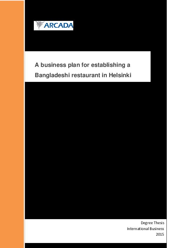 fast food restaurant business plan in bangladesh