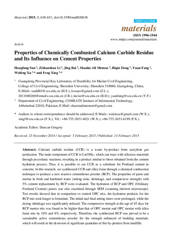 PDF) materials Properties of Chemically Combusted Calcium Carbide