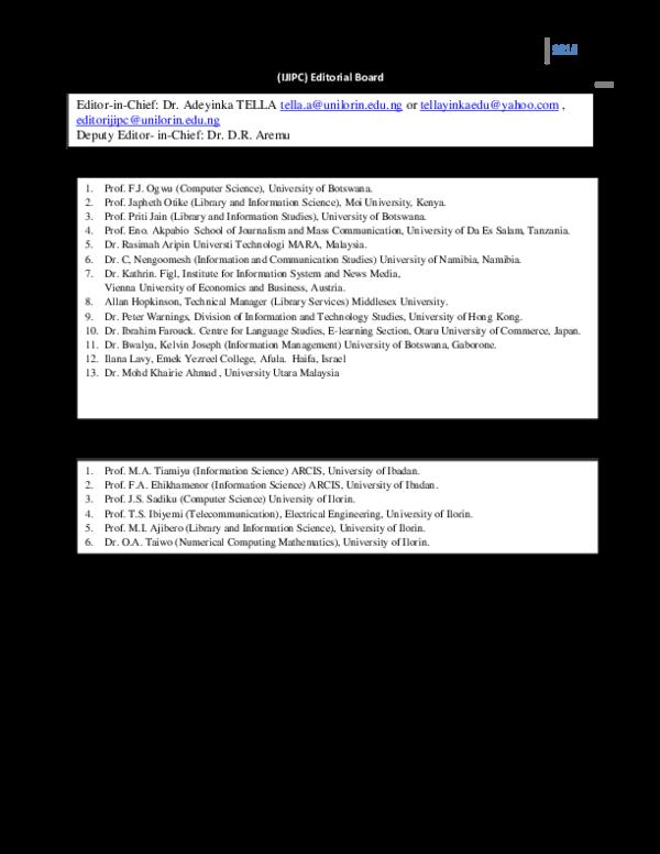 PDF) International Editorial Advisory Board National Editorial