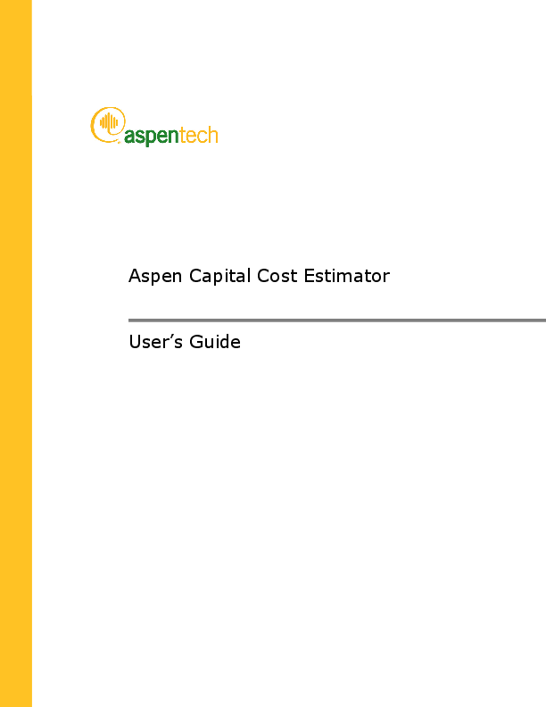 PDF) Aspen Capital Cost Estimator User's Guide | Tapas