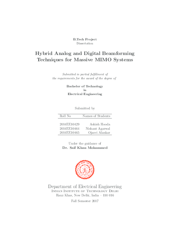PDF) Hybrid Analog and Digital Beamforming Techniques for