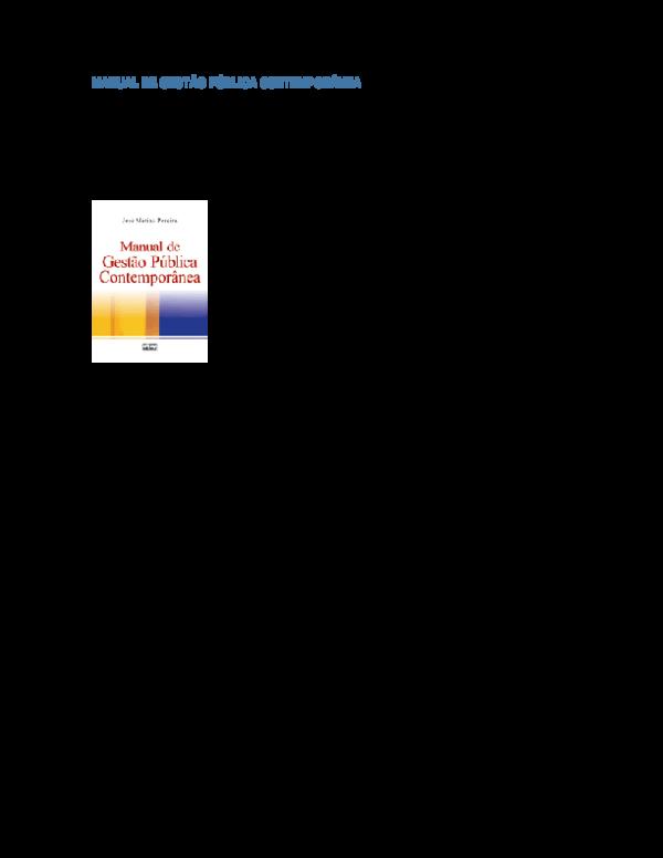 Manual De Gestao Publica Contemporanea Pdf