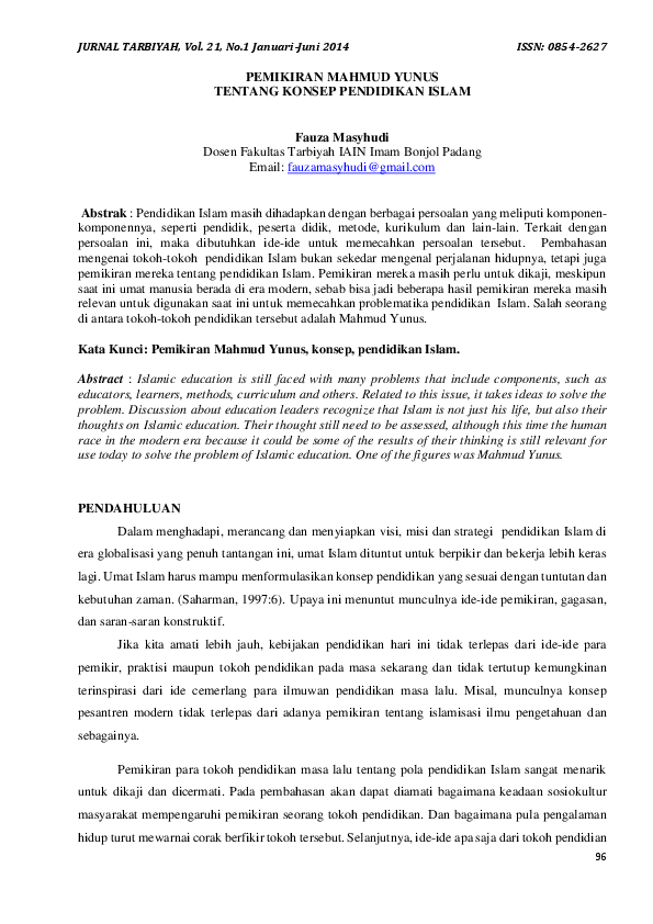 Pdf Pemikiran Mahmud Yunus Tentang Konsep Pendidikan Islam Jurnal Tarbiyah Academia Edu