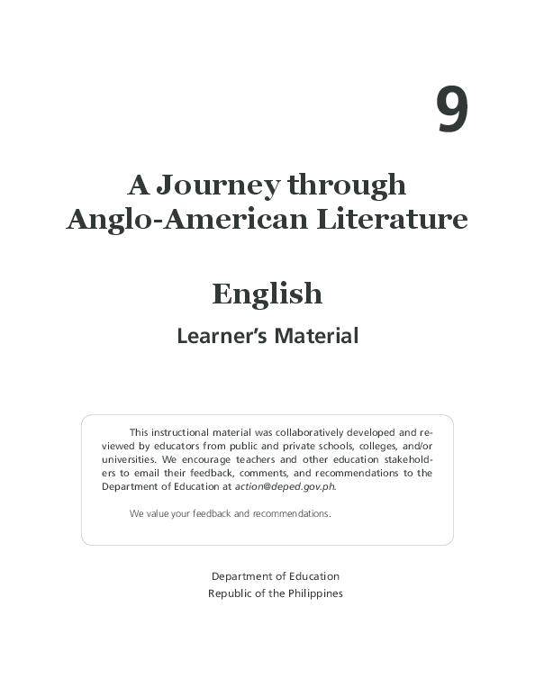 PDF) LM ENGLISH 9 MODULE 1   Ted de Gala - Academia edu