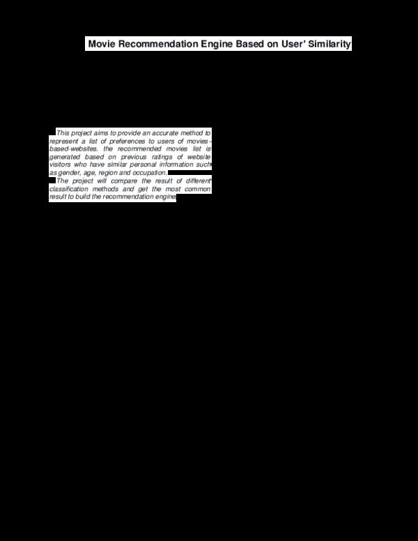 PDF) Movie Recommendation Engine Based on User Similarity