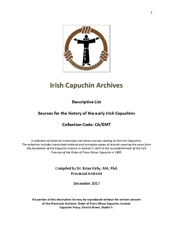 PDF) Descriptive list of sources for the history of the early Irish
