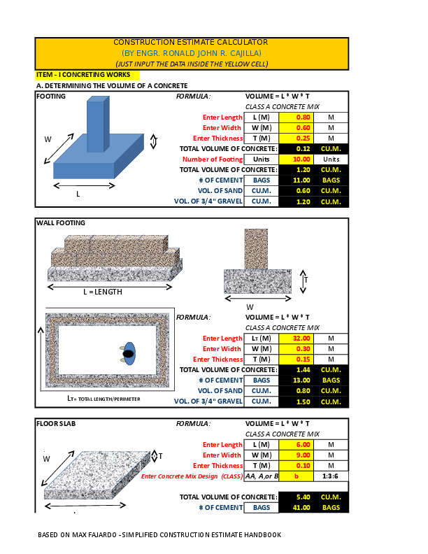 CONST ESTIMATE MADE EASY BY ENGR CAJILLA V0 99 | Billy