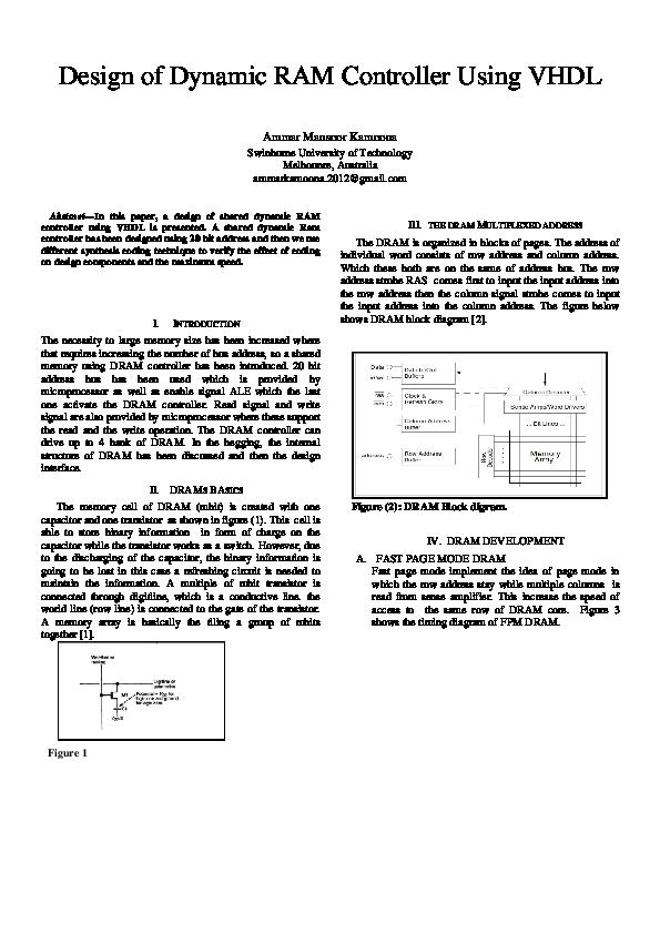 PDF) VHDL CODE FOR DYNAMIC RAM CONTROLLER | Ammar kamoona - Academia edu