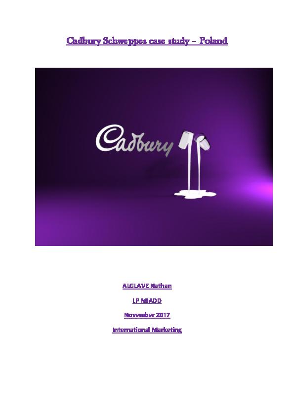 cadbury schweppes case study ppt