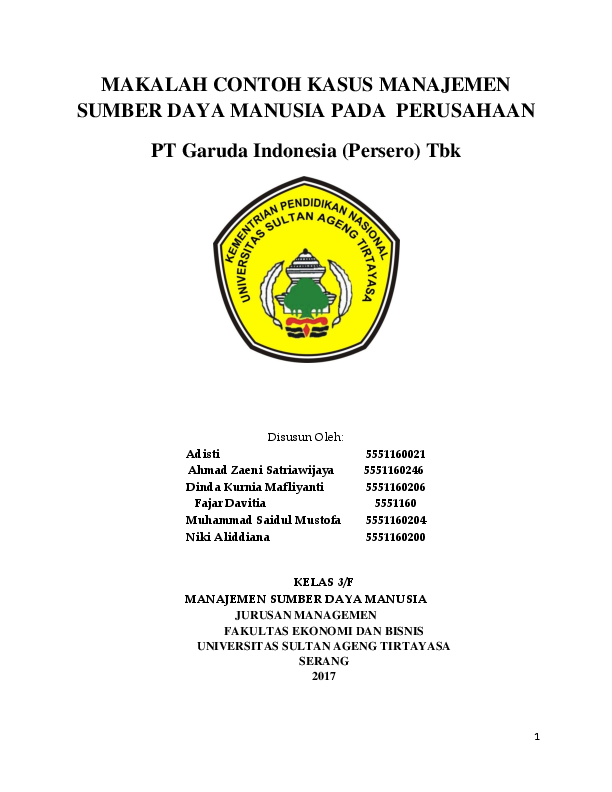Doc Makalah Contoh Kasus Manajemen Sumber Daya Manusia Pada Perusahaan Pt Garuda Indonesia Persero Tbk Dinda Kurnia Mafliyanti Academia Edu
