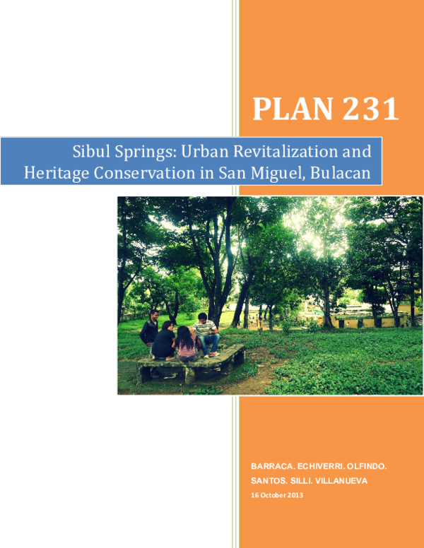 DOC) SIBUL_SPRINGS_Urban_Revitalization_and_H doc | Arch