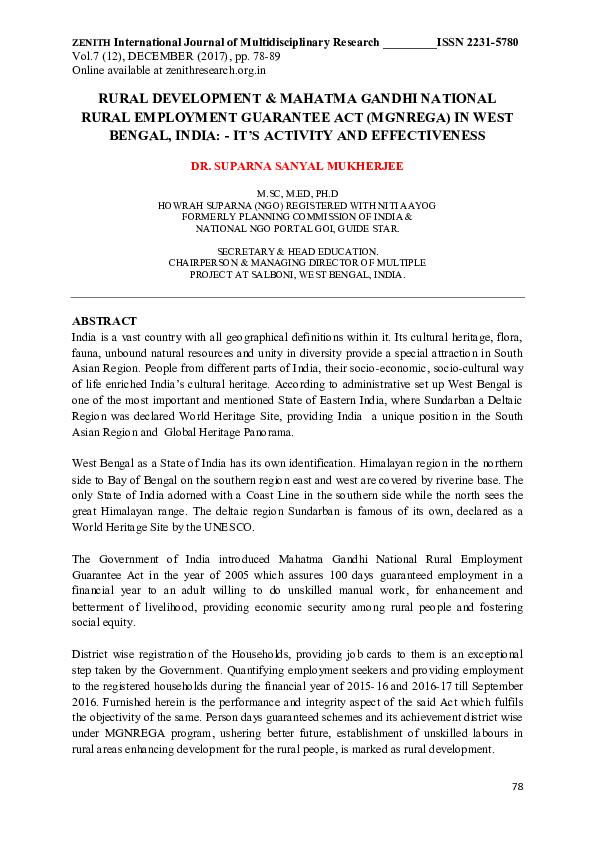 phd thesis on mgnrega