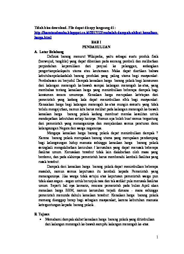 Doc Makalah Dampak Akibat Kenaikan Harga Barang Pokok Alya Raisa Nadya Barabai Academia Edu