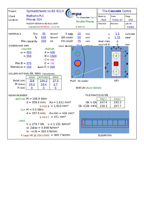 Rcc82 Pilecap Design Xls Kiet Nguyen Academia Edu