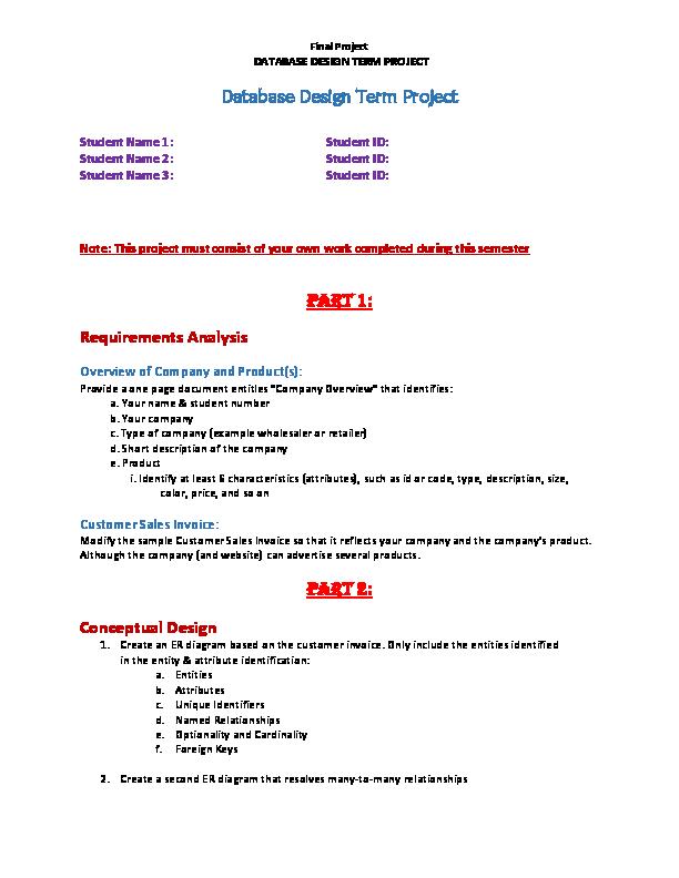 DOC) Database Design Term Project | manpreet kaur - Academia edu