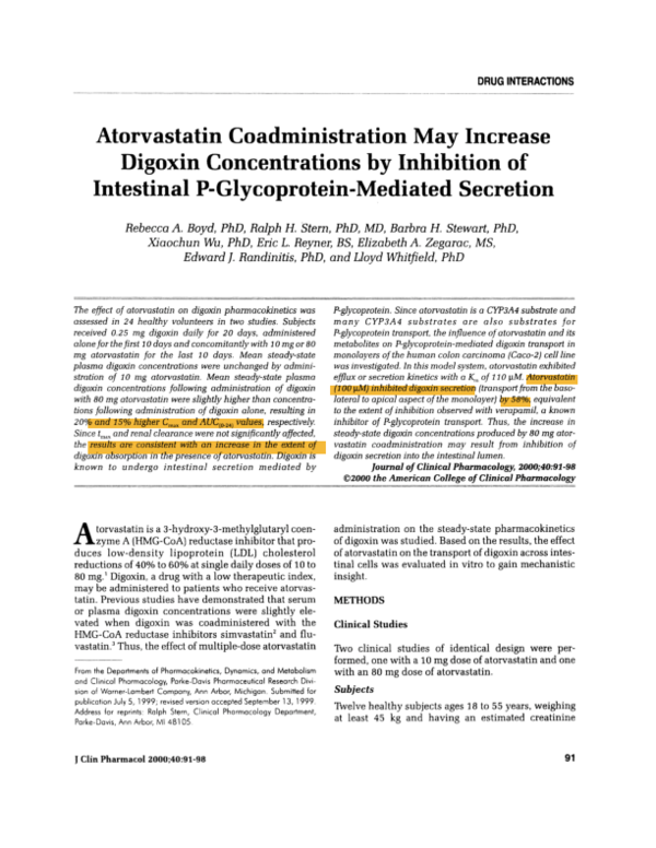 Pdf Atorvastatin Coadministration May Increase Digoxin