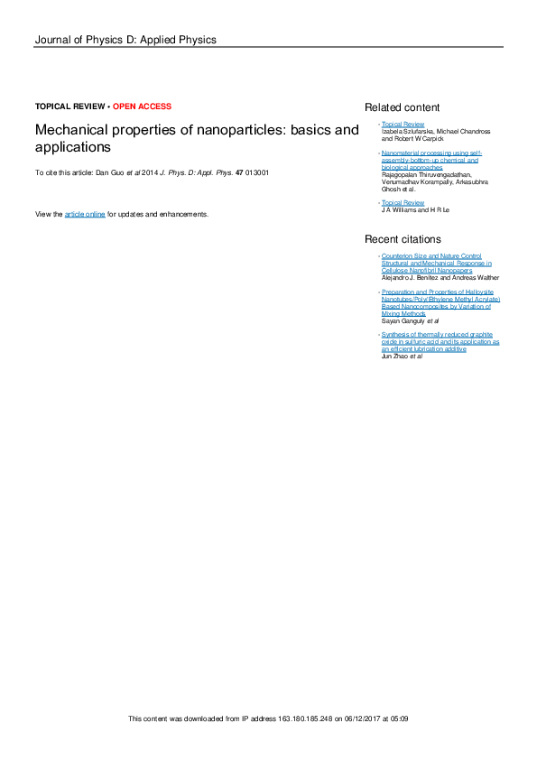 PDF) Mechanical properties of nanoparticles: basics and