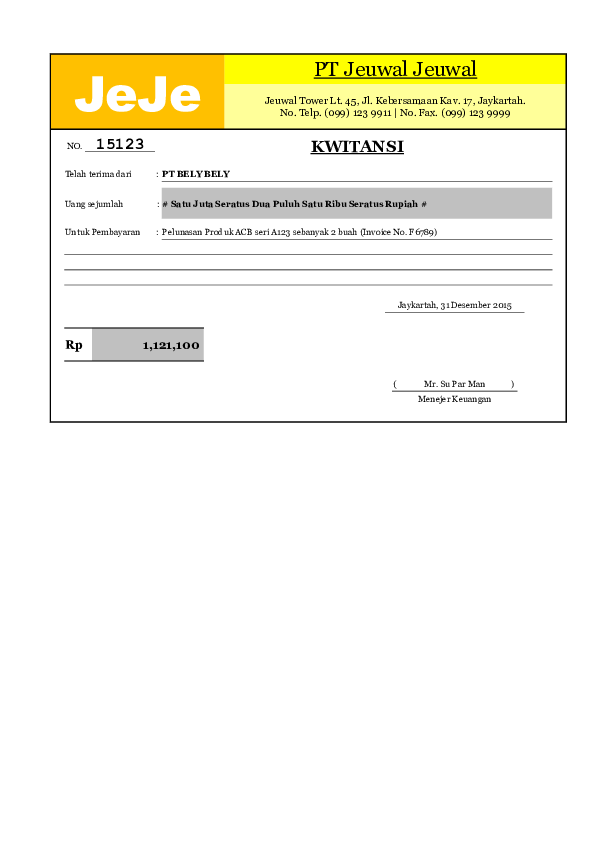 Xls Excelku Com Contoh Template Kwitansi Excel Sederhana