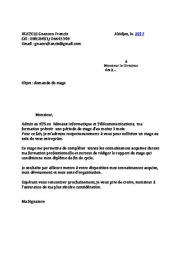 ecrire un mail pour demande de stage