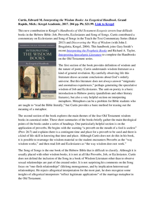PDF) Edward M  Curtis, Interpreting the Wisdom Books: An Exegetical