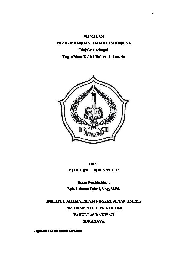 Pdf Contoh Makalah Bahasa Indonesia Listiarini Nur Azizah Academia Edu