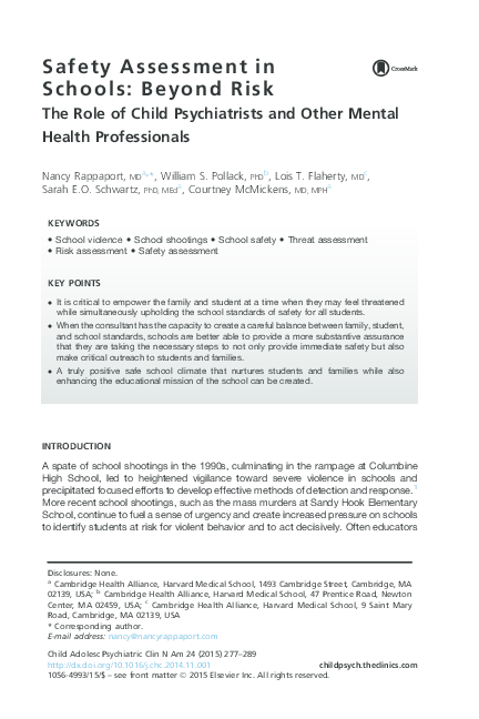 PDF) Safety Assessment in Schools: Beyond Risk - The Role of