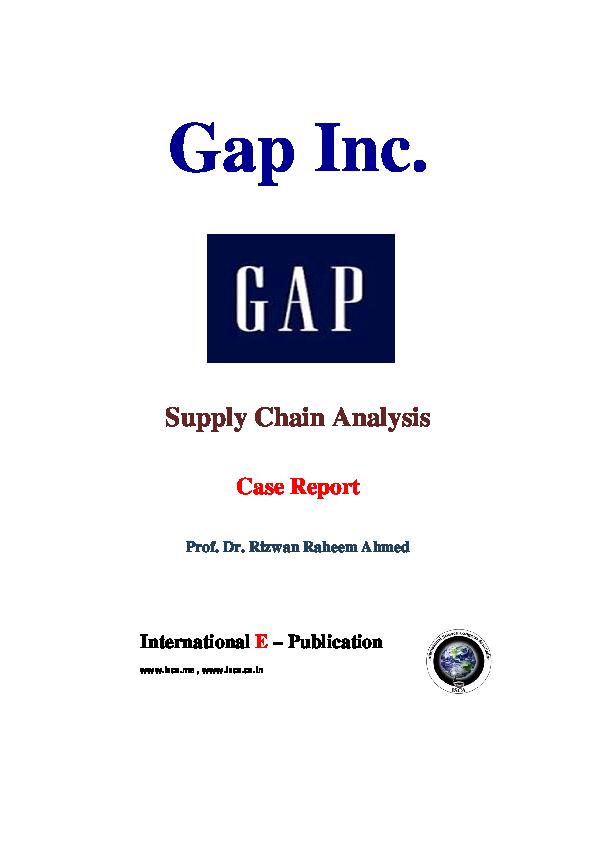 PDF) Gap Inc  Supply Chain Analysis Case Report   Naim BEYAZ