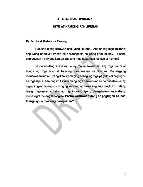 PDF) ARALING PANLIPUNAN 10 ISYU AT HAMONG PANLIPUNAN
