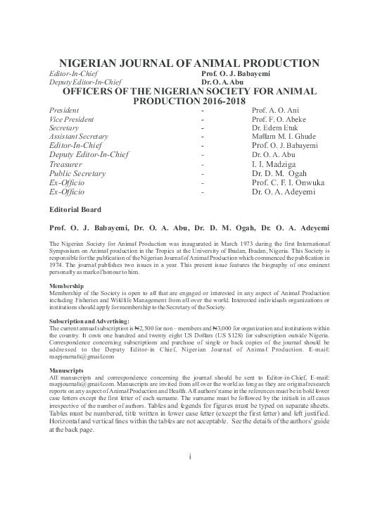 PDF) NIGERIAN JOURNAL OF ANIMAL PRODUCTION | Dozie Onunkwo