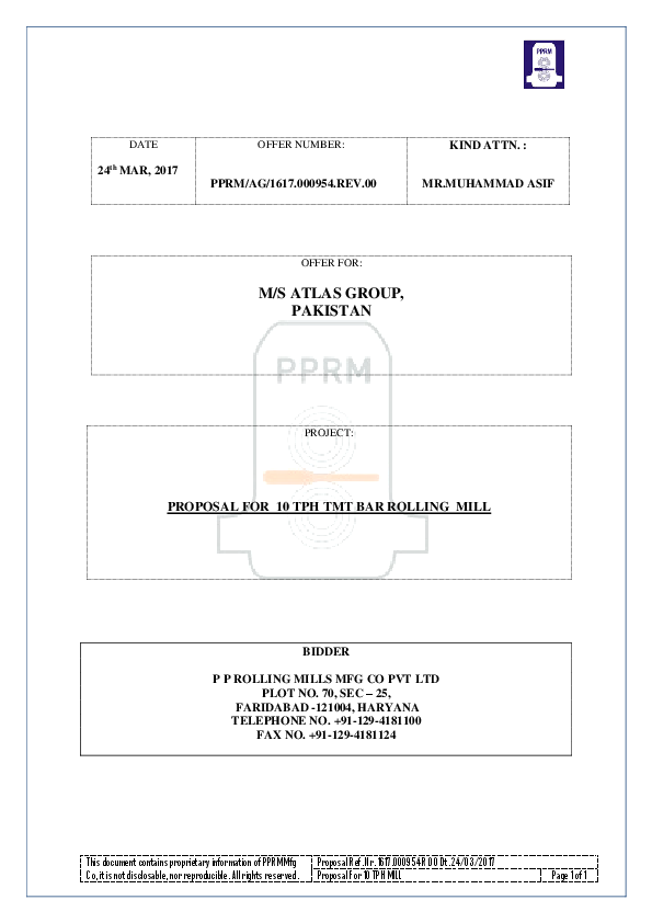 PDF) PROPOSAL FOR 10 TPH TMT BAR ROLLING MILL | rizwan