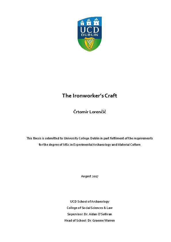 PDF) The Ironworker's Craft (MSc Thesis) | Črtomir Lorenčič