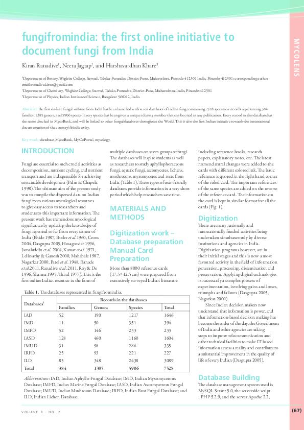 PDF) IMA Fungus Vol8No2_MycoLens_Ranadive et al.pdf | Dr. Kiran R ...