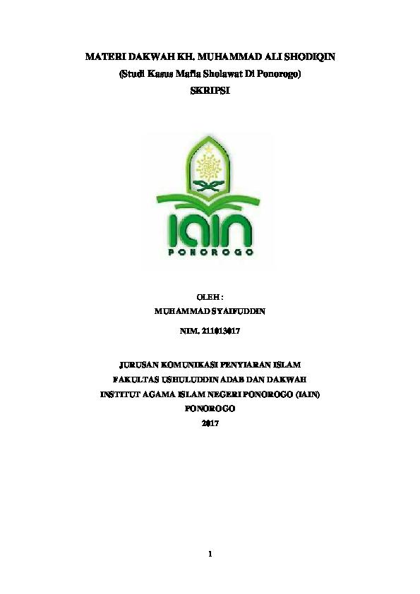 Pdf Muhammad Syaifuddin Al Amin Gandu Academia Edu